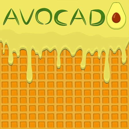 Illustration on theme falling runny avocado drip at sugary waffle cookie. Avocado pattern consisting of drip meal for organic healthy waffle cookies. Drip avocado, exclusive menu gourmet waffle cookie