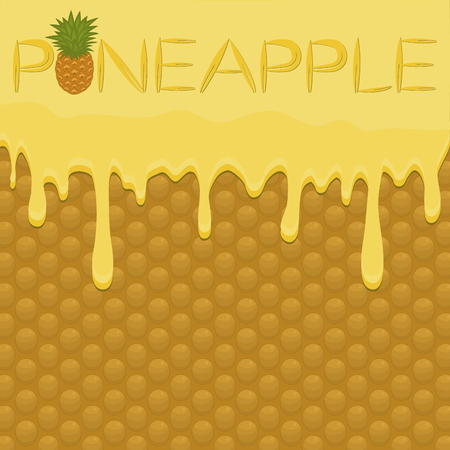 Illustration on theme falling runny pineapple drip at sugary waffle cookie. Pineapple pattern of drip meal for organic healthy waffle cookies. Drip pineapple in exclusive menu gourmet is waffle cookie