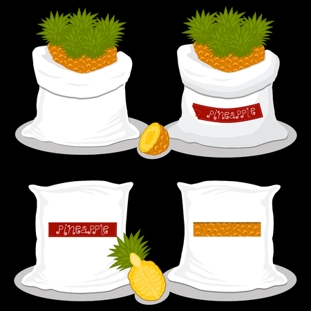 Illustration on theme big set different types pineapple, sack various size. Pineapple pattern consisting of collection meal from organic eco sacks. Old sack out soft pineapple for exquisite gourmet.