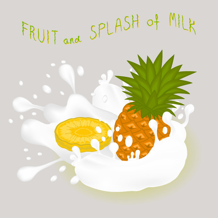 Illustration on theme falling runny pineapple drip at sugary cow milk. Pineapple pattern of collection drip meal for organic healthy milk beverage. Drip pineapple in exclusive milk drink, menu gourmet