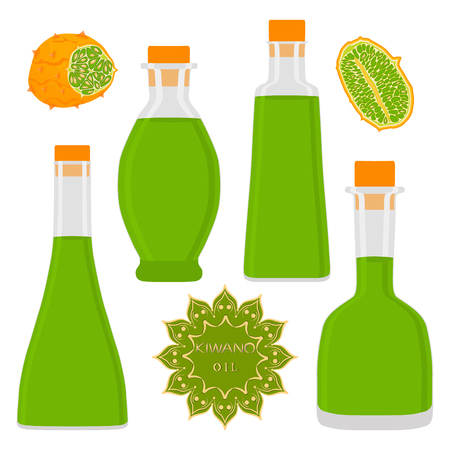 Illustration on theme big set different types kiwano oil, bottles various size. Kiwano pattern consisting of collection oil for organic health beverage in bottle. Oil kiwano in exclusive full bottle Illustration