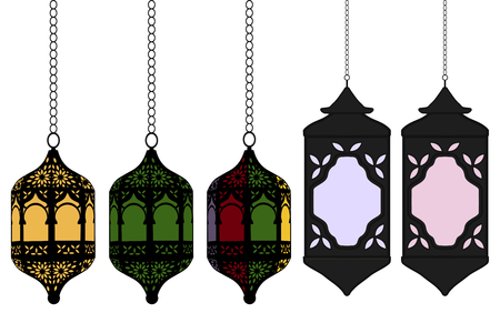 Ilustración sobre el tema grande establece diferentes tipos de linternas, lámpara para celebración de vacaciones Ramadán. Patrón de linterna que consta de lámpara de colección religiosa Ramadán. La linterna es un accesorio para el día de Ramadán.
