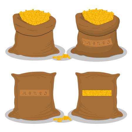 Illustration on theme set different types sacks filled money from coins, bags various sizes. Sack pattern consisting of collection bag money of coins. Full sack money on coins, storage in bag.