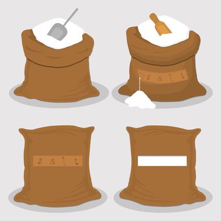 La ilustración sobre el tema establece diferentes tipos de sacos llenos de sal en polvo, bolsas de varios tamaños. Patrón de saco compuesto por bolsas de recogida de sal en polvo para pienso ecológico. Saco lleno de sal en polvo, almacenamiento en bolsa.