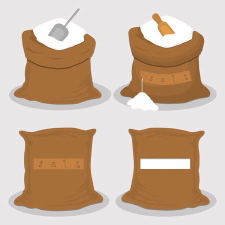 Illustration on theme set different types sacks filled powder salt, bags various sizes. Sack pattern consisting of collection bags powder salt for organic feed. Full sack powder salt, storage in bag.