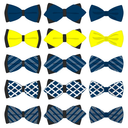 Illustration on theme big colored set ribbon different types, bow tie various size. Ribbon pattern consisting of collection textile garments bow tie for beauty. Bow tie is accessory fun man in ribbon.