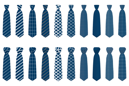 Illustration on theme big set ties different types, neckties various size. Tie pattern consisting of collection textile garments necktie for celebration vacation. Necktie tie is accessory brutal man. Illustration