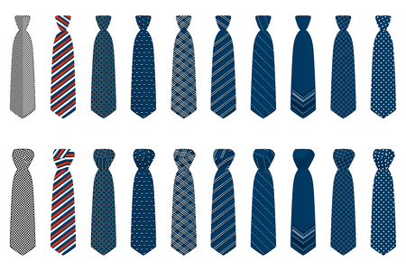 Illustration on theme big set ties different types, neckties various size. Tie pattern consisting of collection textile garments necktie for celebration vacation. Necktie tie is accessory brutal man. Ilustração