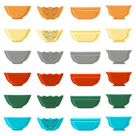 Illustration on theme big colored set different types bowl, empty plates various size. Bowl pattern consisting of collection empty plate for organic health feed. Empty plate, bowl to exquisite gourmet