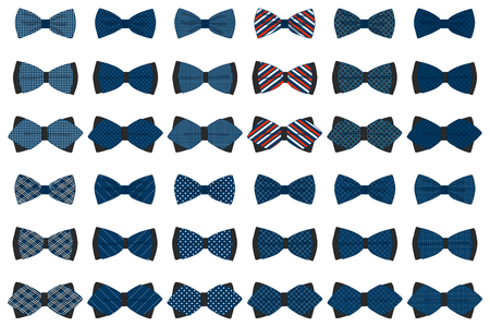 Illustration on theme big colored set ribbon different types, bow tie various size. Ribbon pattern consisting of collection textile garments bow tie for beauty. Bow tie is accessory fun man in ribbon. Vektorové ilustrace