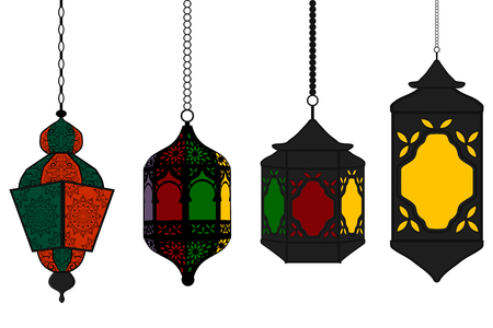 Illustration on theme big set different types lanterns, lamp to celebration holiday Ramadan. Lantern pattern consisting of religious collection lamp Ramadan. Lamp lantern is accessory for day Ramadan.