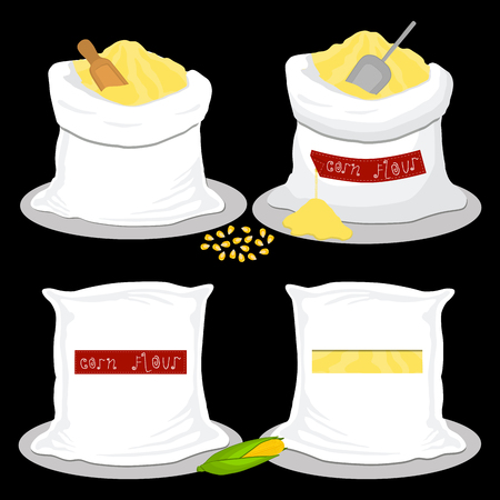Illustration on theme big set different types sacks filled raw product corn flour. Corn flour pattern consisting of collection sacks for organic cooking. Tasty corn flour in eco sack for menu gourmet
