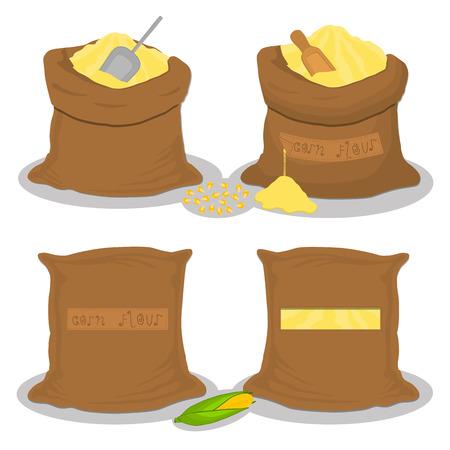Illustration sur le thème grand ensemble de différents types de sacs remplis de farine de maïs de produit brut. Modèle de farine de maïs composé de sacs de collecte pour la cuisine biologique. Farine de maïs savoureuse en sac écologique pour menu gourmet
