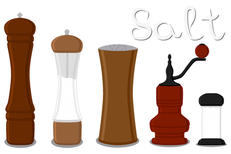 Illustration on theme big set different types glassware filled salt, mill various size. Salt pattern consisting of collection glassware mill for organic cooking. Salt in glassware mill for menu cafe.