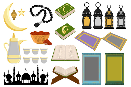 Illustration on theme big colored set different types object to celebration holiday Ramadan kareem. Pattern consisting of religious collection Ramadan kareem. Accessory for happy day Ramadan kareem. Vetores