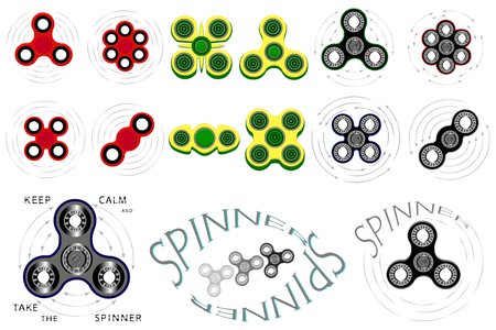 Illustration on theme big set different types spinner, flying toy kid fidget. Spinner pattern consisting of sports anti stress triangular toy, symbol baby fidget. Play in boy toys spinners fidgets.