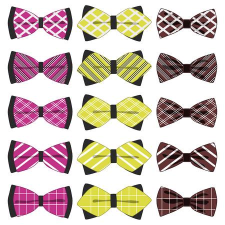 Ilustración sobre el tema de diferentes tipos de cinta de color grande, pajarita de varios tamaños. Patrón de cinta que consta de colección de prendas textiles pajarita de belleza. La pajarita es un accesorio divertido para hombre en cinta.