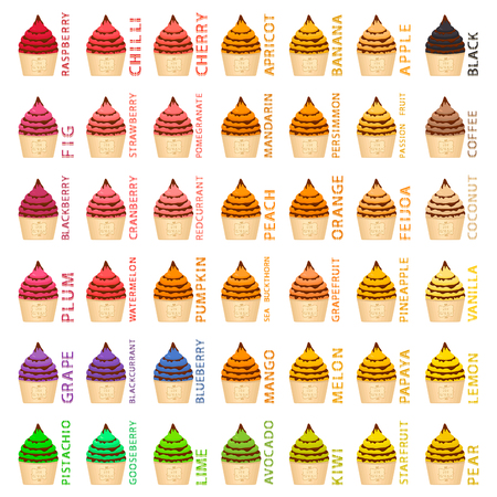 Big colorful set different types natural ice cream, structure icecream various size. Icecream consisting of collection meal, ice cream for organic nutrition. Menu ice cream is yummy design icecream.