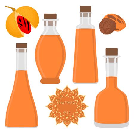 Illustration on theme big set different types nutmeg oil, bottles various size. Nutmeg pattern consisting of collection oil for organic health beverage in bottle. Oil nutmeg in exclusive full bottle.