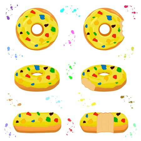 Illustration on theme big set different types sticky donuts, sweet doughnuts various size. Donut pattern consisting of collection organic doughnuts from sticky pastry. Sticky donuts is yummy doughnuts