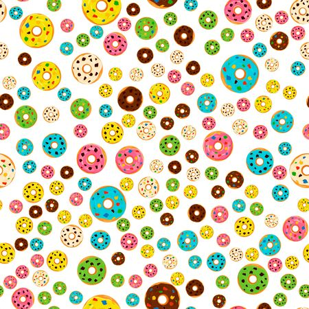 Illustration on theme big colored seamless donut pattern, type of wallpaper for walls. Seamless pattern consisting of collection donuts, accessory at wallpaper. Wallpaper from seamless donut pattern.  イラスト・ベクター素材