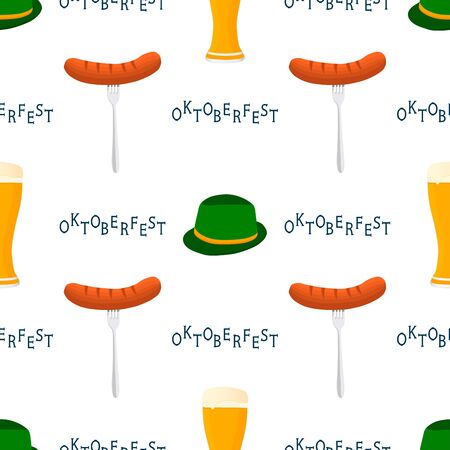 Illustration on theme big colored pattern oktoberfest, german holiday it fest sausage. Pattern consisting of collection fest sausage, accessory for oktoberfest. Fest Oktoberfest pattern from sausage.