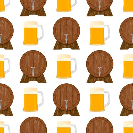 Illustration on theme big colored pattern oktoberfest, german holiday it fest beer. Pattern consisting of collection fest beer, accessory for oktoberfest. Fest Oktoberfest pattern from beer. Ilustração