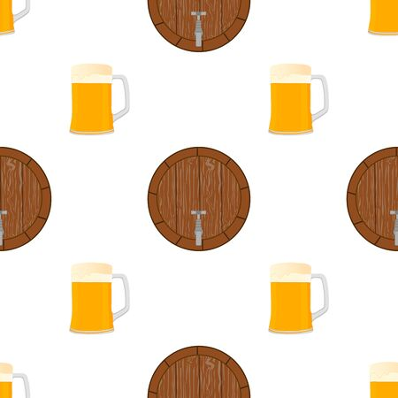 Illustration on theme big colored pattern oktoberfest, german holiday it fest beer. Pattern consisting of collection fest beer, accessory for oktoberfest. Fest Oktoberfest pattern from beer. 일러스트