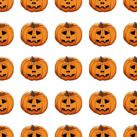 Illustration on theme big colored pattern Halloween, seamless orange pumpkin. Seamless pattern consisting of collection pumpkin, accessory at Halloween. Rare pattern Halloween from seamless pumpkin. Stock Illustratie