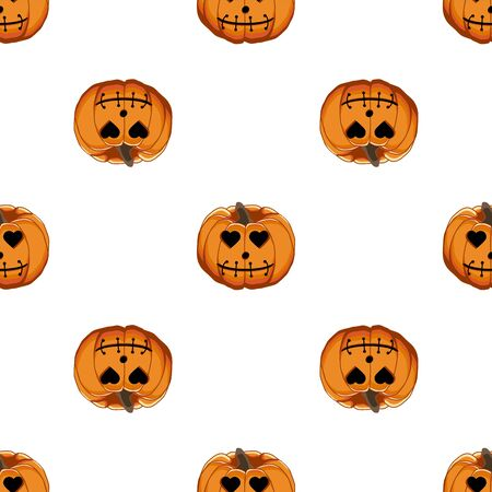 Illustration on theme big colored pattern Halloween, seamless orange pumpkin. Seamless pattern consisting of collection pumpkin, accessory at Halloween. Rare pattern Halloween from seamless pumpkin. Stockfoto - 129462928