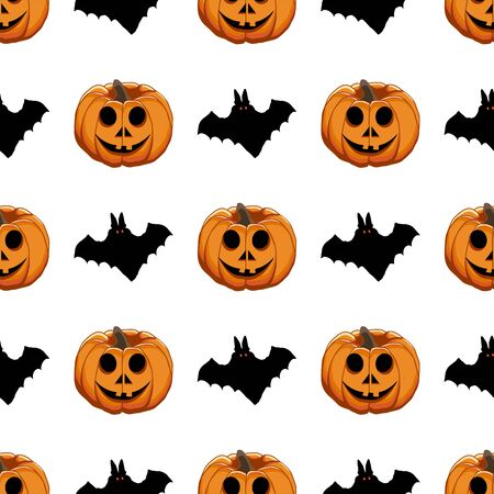 Illustration on theme big colored pattern Halloween, seamless orange pumpkin. Seamless pattern consisting of collection pumpkin, accessory at Halloween. Rare pattern Halloween from seamless pumpkin. Illustration