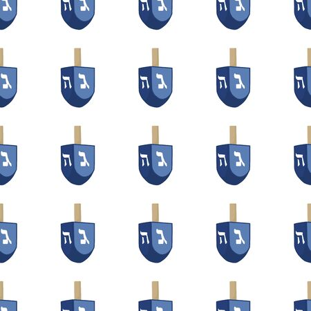 Illustration on theme big colored pattern Hanukkah, seamless set dreidel. Seamless pattern consisting of collection dreidel, accessory holiday Hanukkah. Seamless Hanukkah, pattern in old dreidel. Vettoriali