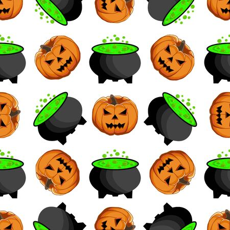 Illustration on theme big colored pattern Halloween, seamless orange pumpkin. Seamless pattern consisting of collection pumpkin, accessory at Halloween. Rare pattern Halloween from seamless pumpkin. Foto de archivo - 130698088