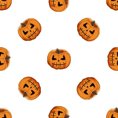 Illustration on theme big colored pattern Halloween, seamless orange pumpkin. Seamless pattern consisting of collection pumpkin, accessory at Halloween. Rare pattern Halloween from seamless pumpkin.  イラスト・ベクター素材