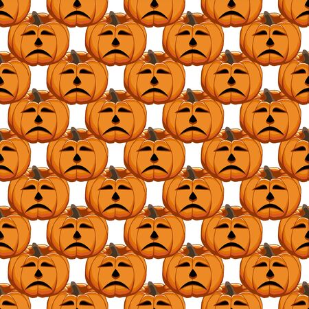 Illustration on theme big colored pattern Halloween, seamless orange pumpkin. Seamless pattern consisting of collection pumpkin, accessory at Halloween. Rare pattern Halloween from seamless pumpkin. Фото со стока - 132105122