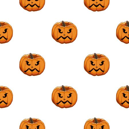 Illustration on theme big colored pattern Halloween, seamless orange pumpkin. Seamless pattern consisting of collection pumpkin, accessory at Halloween. Rare pattern Halloween from seamless pumpkin. Фото со стока - 132105137