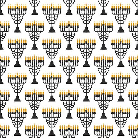 Illustration on theme big colored pattern Hanukkah, seamless set menorah. Seamless pattern consisting of collection menorah, accessory holiday Hanukkah. Seamless Hanukkah, pattern in old menorah. Illustration