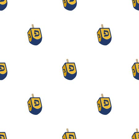 Illustration on theme big colored pattern Hanukkah, seamless set dreidel. Seamless pattern consisting of collection dreidel, accessory holiday Hanukkah. Seamless Hanukkah, pattern in old dreidel. Çizim