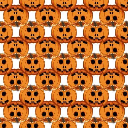 Illustration on theme big colored pattern Halloween, seamless orange pumpkin. Seamless pattern consisting of collection pumpkin, accessory at Halloween. Rare pattern Halloween from seamless pumpkin. Illusztráció
