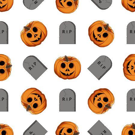 Illustration on theme big colored pattern Halloween, seamless orange pumpkin. Seamless pattern consisting of collection pumpkin, accessory at Halloween. Rare pattern Halloween from seamless pumpkin. Ilustração