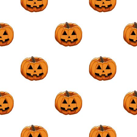 Illustration on theme big colored pattern Halloween, seamless orange pumpkin. Seamless pattern consisting of collection pumpkin, accessory at Halloween. Rare pattern Halloween from seamless pumpkin. Vector Illustratie