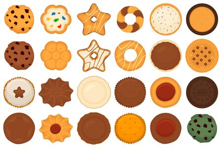Illustration on theme big set different biscuit, kit colorful pastry cookie. Cookie consisting of collectible natural tasty food biscuit, pastry accessory. Eat fresh pastry biscuit from sweet cookie.