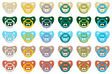 Illustration on theme big colored set baby pacifiers, dummy with rubber nipple. Baby pacifiers consisting of collection to newborn, good dummy nipple. Dummy nipple in pacifiers it baby care equipment.