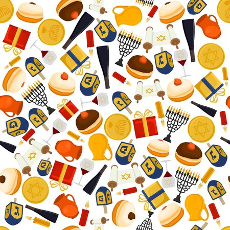Illustration on theme big colored pattern Hanukkah, seamless set clay jug. Seamless pattern consisting of collection jug liquid oil, accessory holiday Hanukkah. Seamless Hanukkah, pattern in old jug.