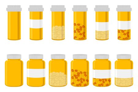 Illustration on theme big colored set different types of pills inside close jar. Pill pattern consisting of collection jars with quality control closed cap. Plastic jar open for drink laboratory pill