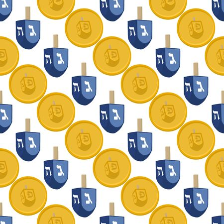 Illustration on theme big colored pattern Hanukkah, seamless set dreidel. Seamless pattern consisting of collection dreidel, accessory holiday Hanukkah. Seamless Hanukkah, pattern in old dreidel. Ilustrace