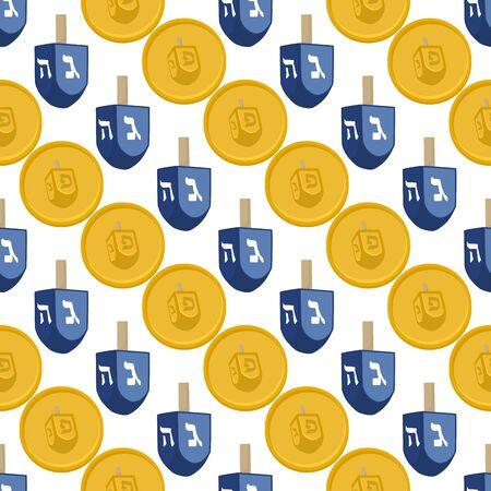 Illustration on theme big colored pattern Hanukkah, seamless set dreidel. Seamless pattern consisting of collection dreidel, accessory holiday Hanukkah. Seamless Hanukkah, pattern in old dreidel. Çizim
