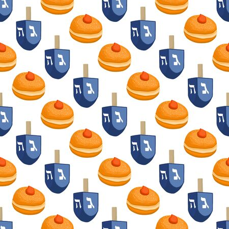 Illustration on theme big colored pattern Hanukkah, seamless tasty donut. Seamless pattern consisting of collection yummy donut, accessory holiday Hanukkah. Seamless Hanukkah, pattern in nice donut.