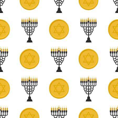 Illustration on theme big colored pattern Hanukkah, seamless set menorah. Seamless pattern consisting of collection menorah, accessory holiday Hanukkah. Seamless Hanukkah, pattern in old menorah. Ilustrace