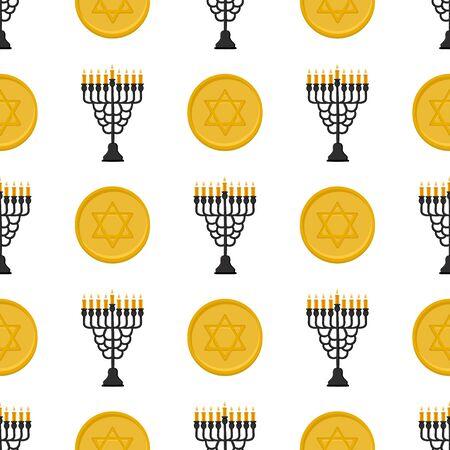 Illustration on theme big colored pattern Hanukkah, seamless set menorah. Seamless pattern consisting of collection menorah, accessory holiday Hanukkah. Seamless Hanukkah, pattern in old menorah. Çizim